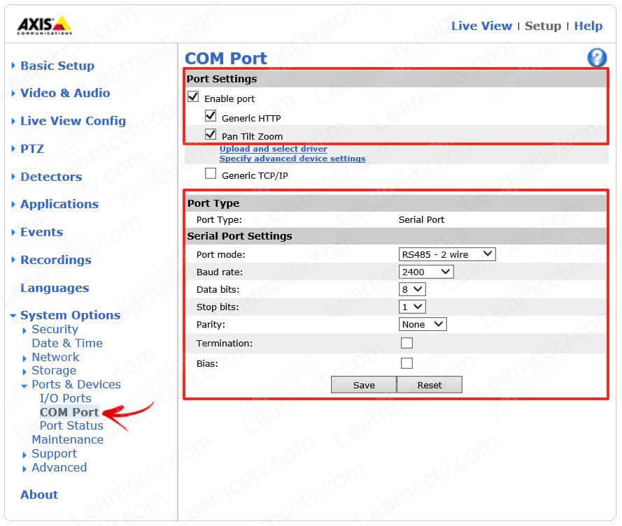 Axis encoder COM parameters
