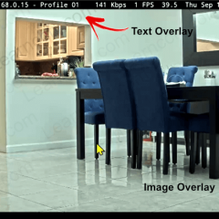Axis camera with overlay text