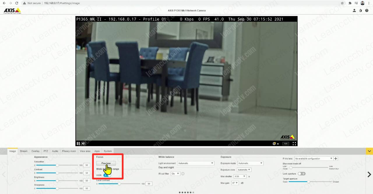 Axis IP camera Fine Tune Focus