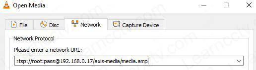 Axis P1365 MKII RTSP URL on VLC