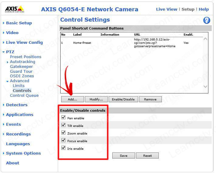 Axis PTZ Enable Disable Controls