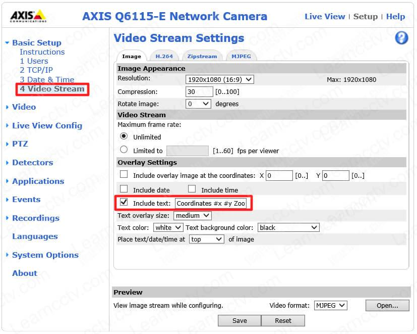 Axis PTZ Overlay Settings for Coordinates