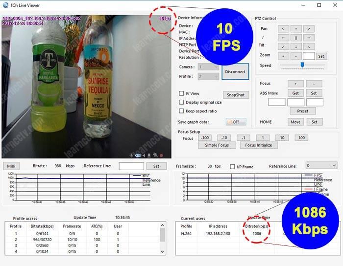 Bitrate para camera IP 10FPS 1086Kbps