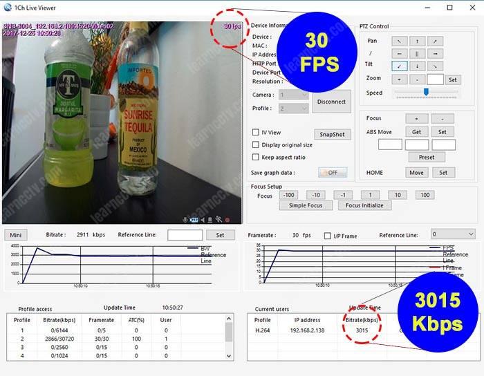 Bitrate para camera IP 30FPS 3015Kbps