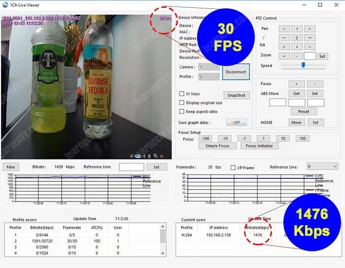 Bitrate para camera IP 30FPS 720p