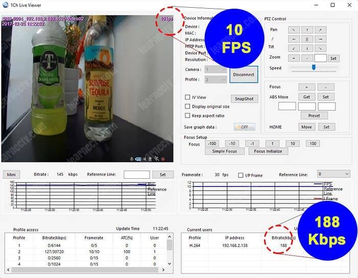 Bitrate para camera IP 10 FPS 640x360p