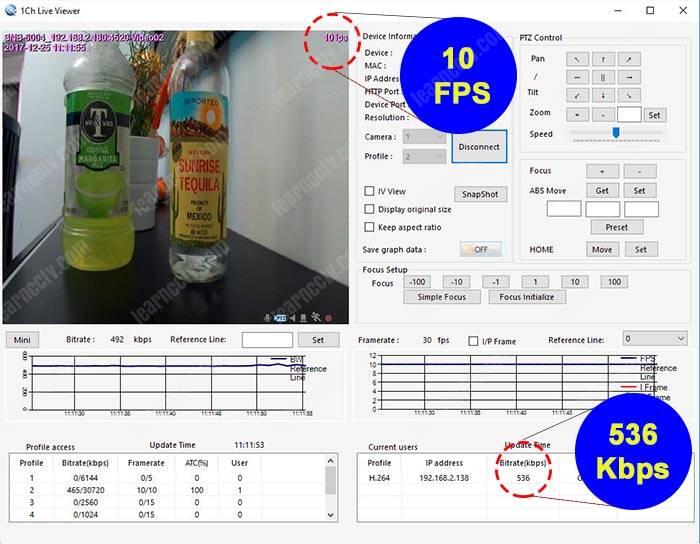 Bitrate para camera IP 10 FPS 720p