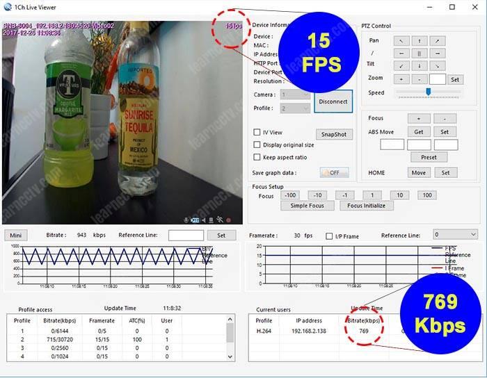 Bitrate para camera IP 15 FPS 720p