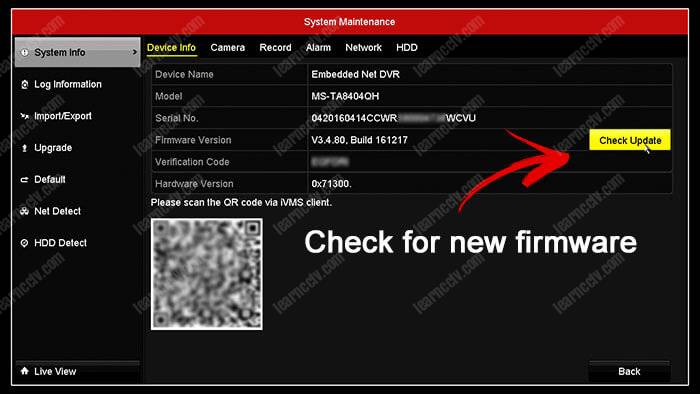 Hikvision DVR check for new firmware
