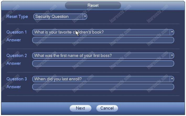Dahua NVR Reset Password Security Question