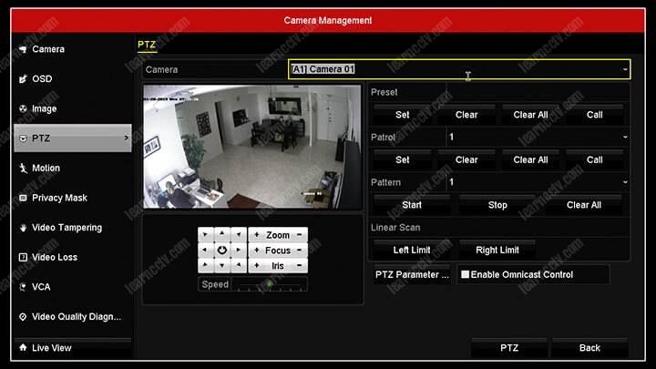 Menu camera Hikvision DVR PTZ