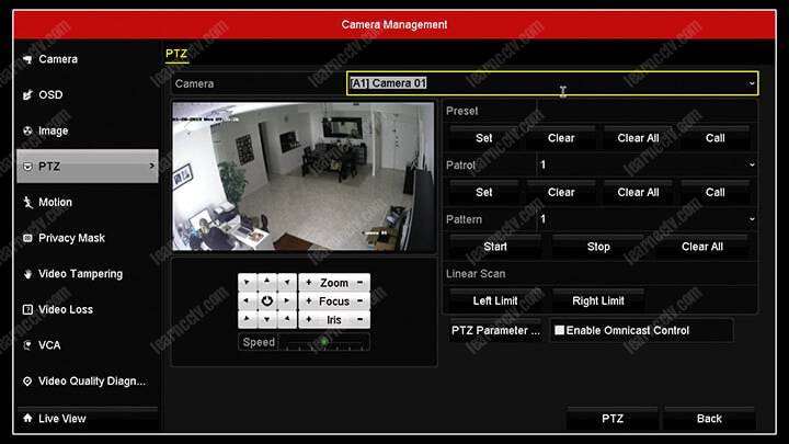 Hikvision DVR kamera menüsü PTZ