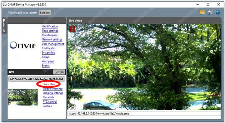 ONVIF Device Manager Live Video