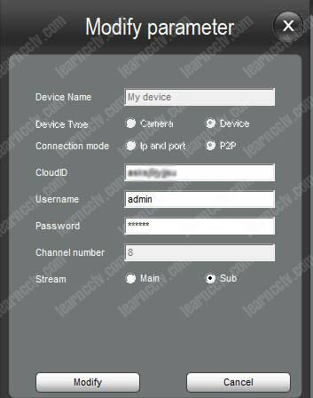 Zosi DVR Device Management Modify Parameter