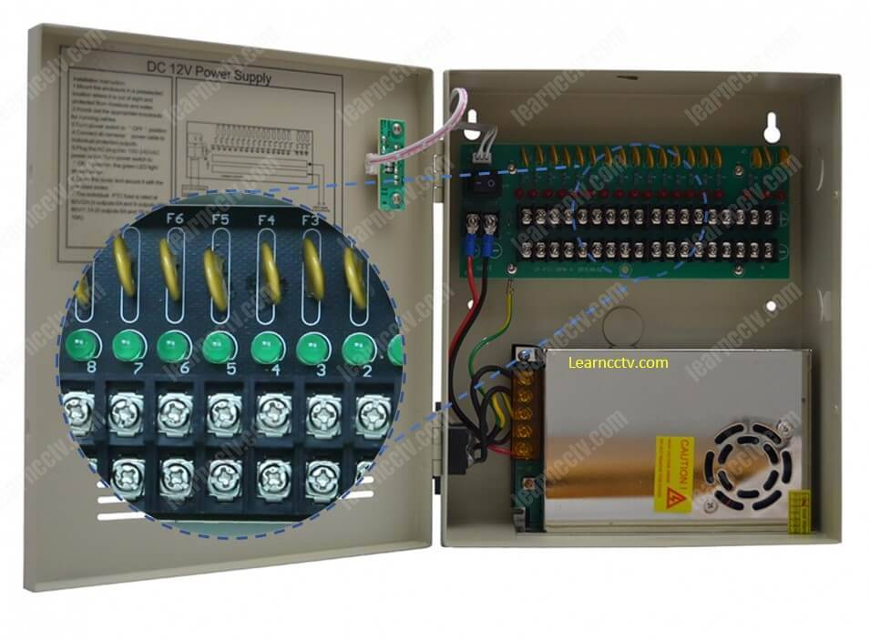 Professional CCTV power supply with PTC fuses