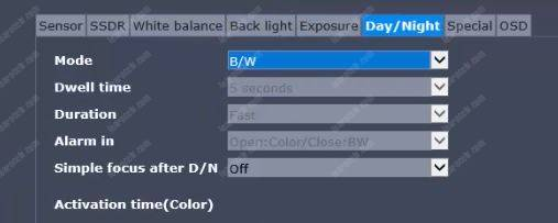 IP Camera Day/Night Menu