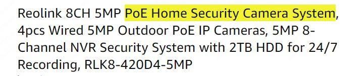 PoE Security Camera System Specs