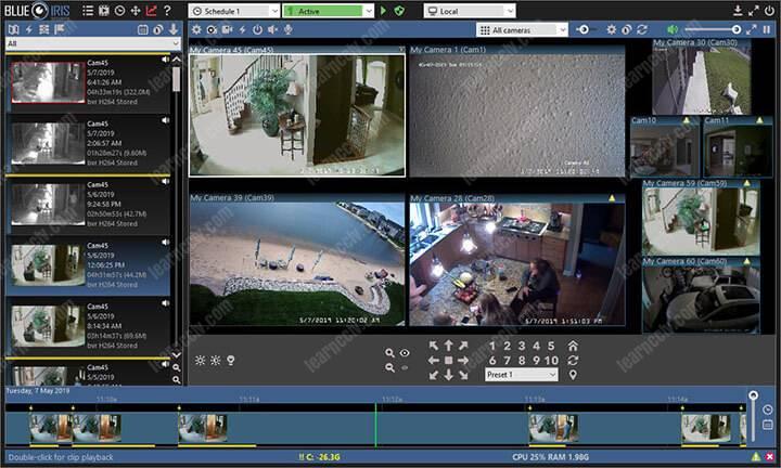 Sofware for security cameras recording