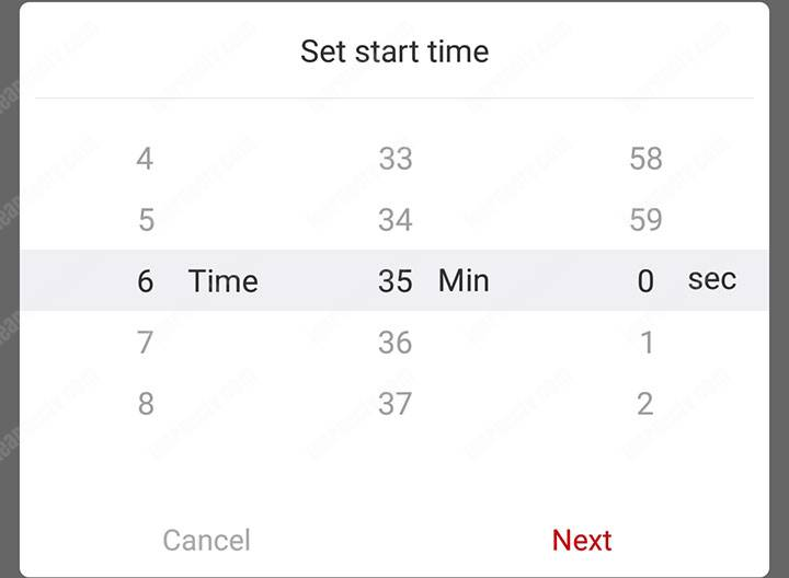 Backup start time