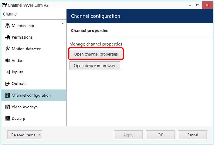 Luxriot Configuration Devices Wyze Cam Channel Config Properties