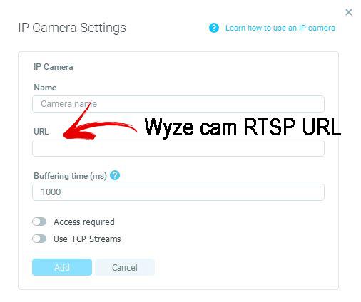 Insert the Wyze Cam RTSP URL