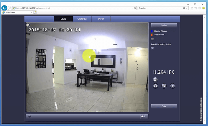 Zosi IP camera live video via web browser
