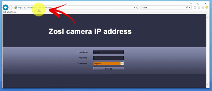 Zosi IP camera web browser login