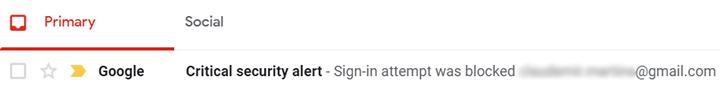 Google Critical Alert