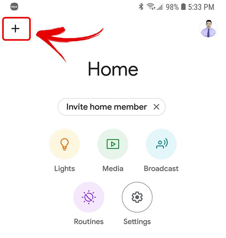 Google Home Main Screen