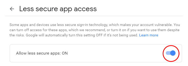 Less Secure App Enabled