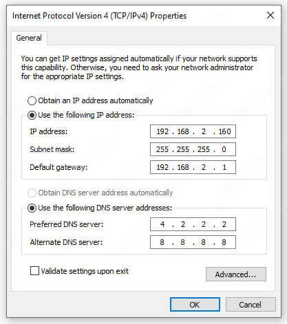 IP Address for the computer or laptop