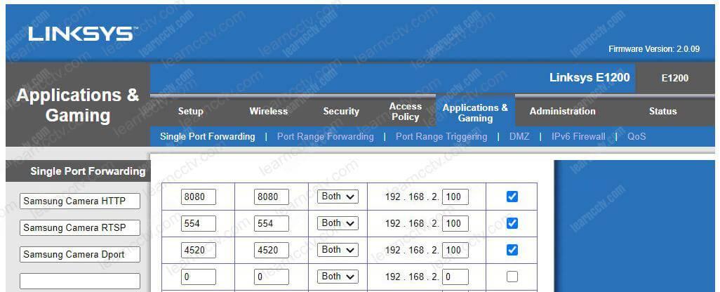 Router Forwarding Rules for Wisenet DDNS