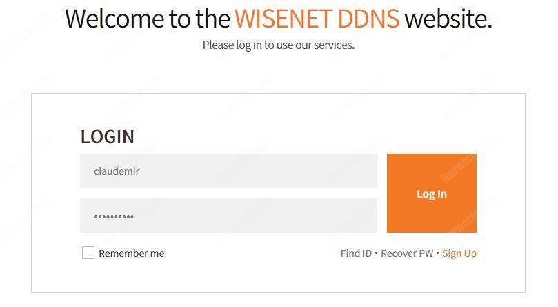 Wisenet DDNS Login Page