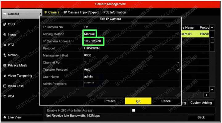 Add Hikvision IP camera manually in the NVR
