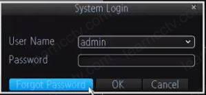 Amcrest DVR 650TVL login screen