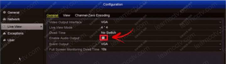 Swann DVR enable audio output