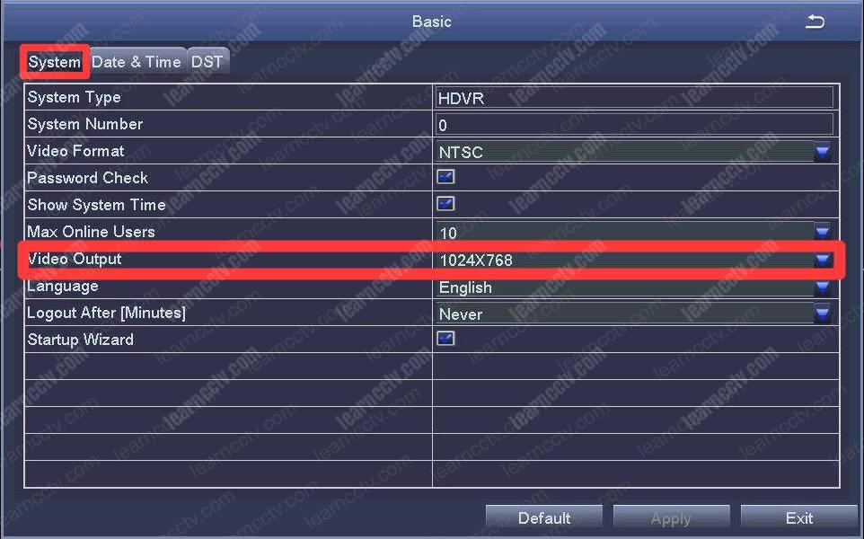 Zosi DVR video output menu