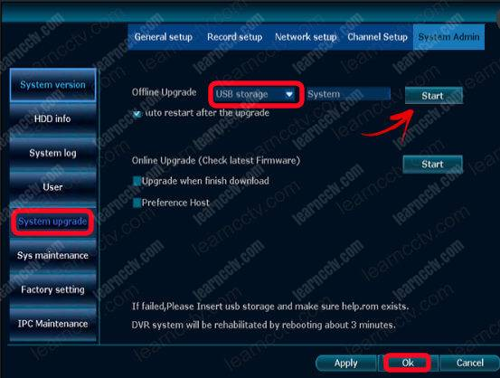 Zosi NVR Menu System Admin
