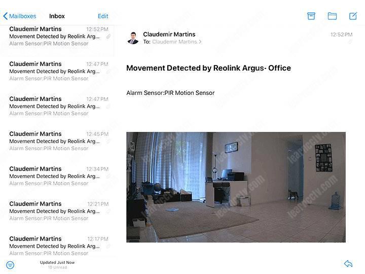 Reolink Argus 3 Email Alert