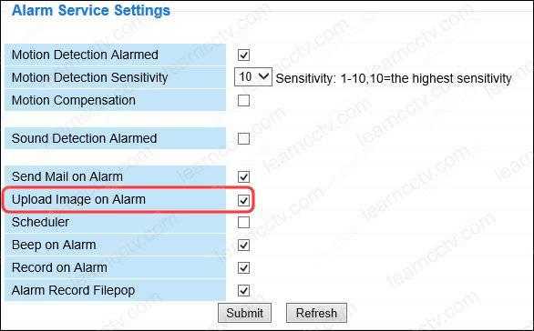 Foscam Upload Image on Alarm