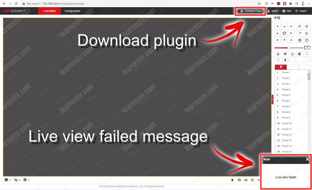 Hikvision Live View Failed Download Plugin Message