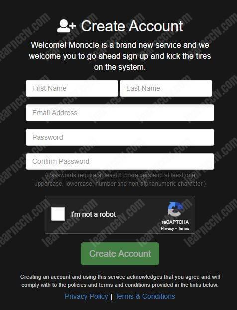 Monocle tạo tài khoản mới