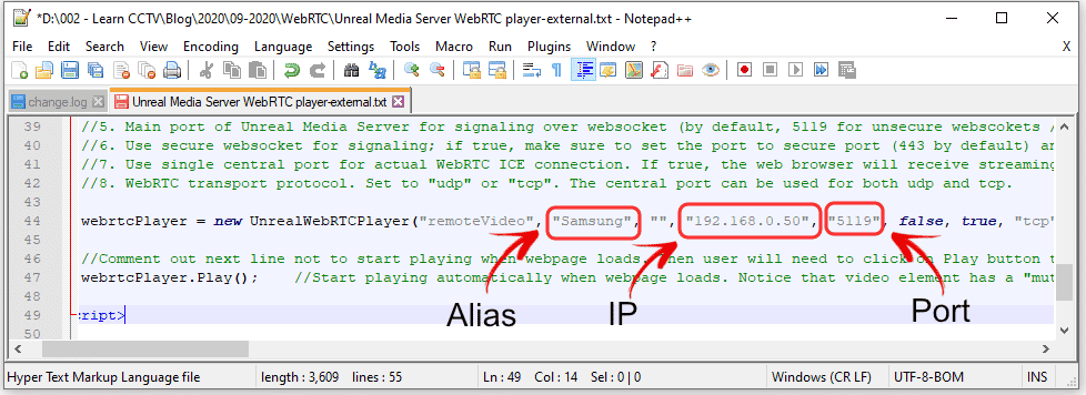 Unteal Media Server HTML code