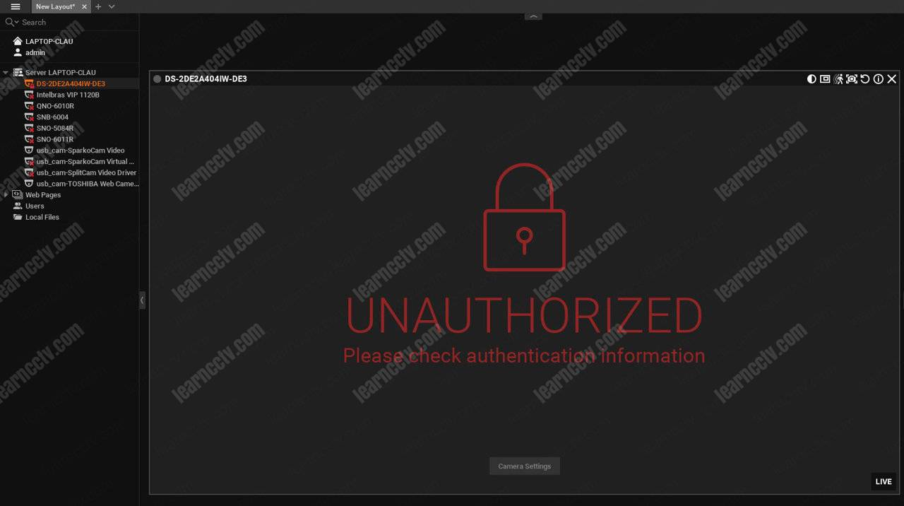 Wisenet Wave Unauthorized access to Hikvision camera