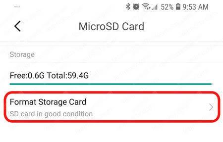 YI Home App Micro SD card format