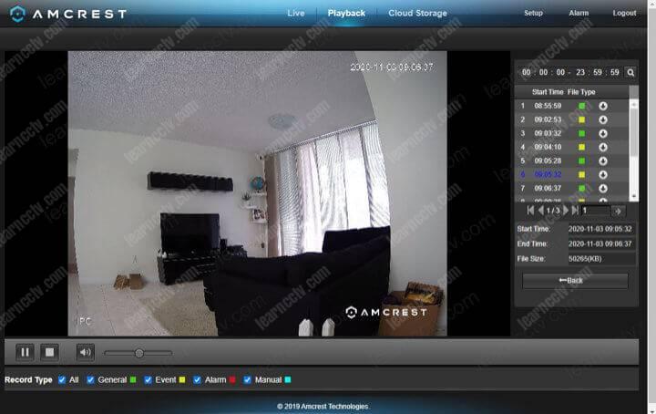 Amcrest IP camera playback via web browser