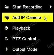 Hikvision NVR add camera button