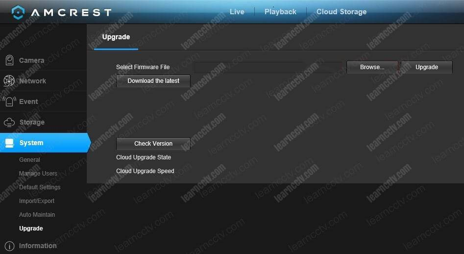 Amcrest Camera Web Interface Upgrade