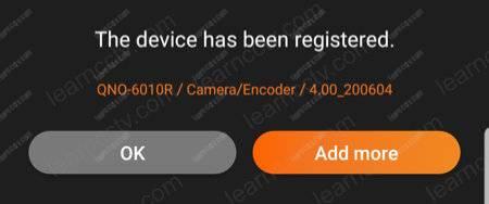 Device registered