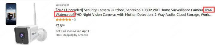 IP66 Weatherproof security camera
